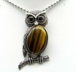 Natural-tiger-eye-Gem-beads-animal-Owl-Retro-Silver-Pendant-necklace-Jewelry-P1