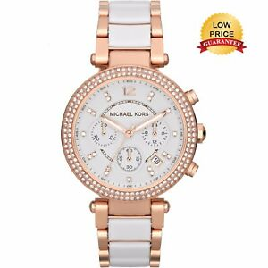 NEW-GENUINE-MICHAEL-KORS-MK5774-WHITE-ROSE-GOLD-CHRONOGRAPH-PARKER-WOMEN-039-S-WATCH