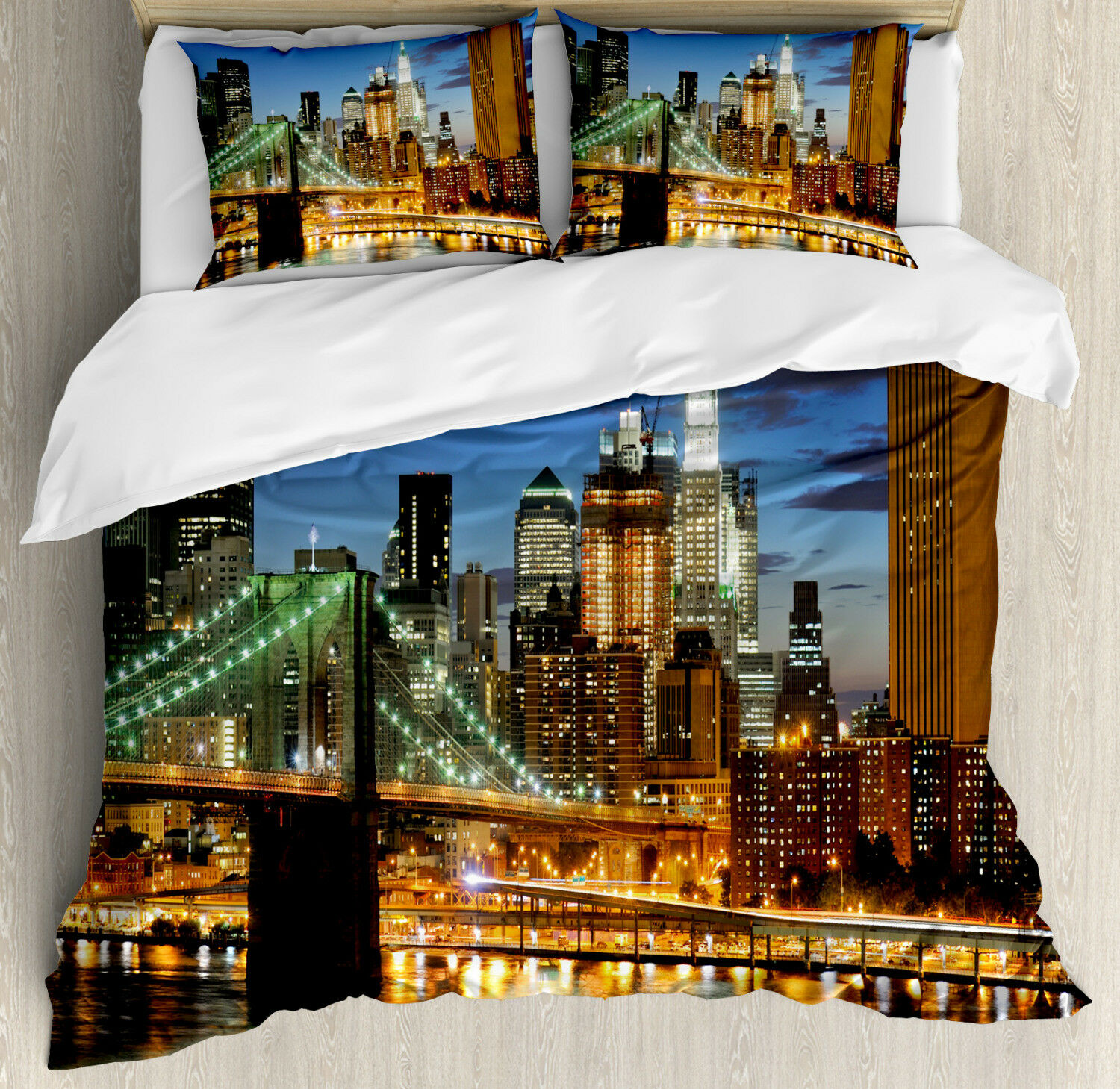 City Duvet Cover Set with Pillow Shams New York at Night Bridge Print