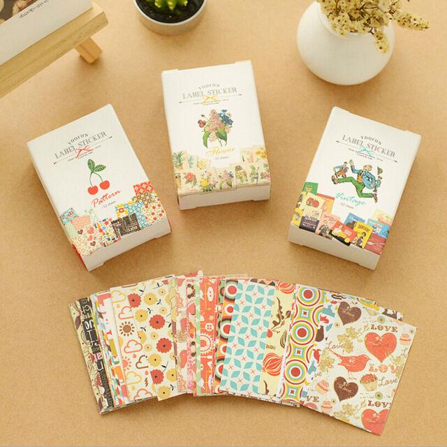 52X DIY Craft Kawaii Sticker Vintage Sticky Paper for Scrapbooking Decoration AT