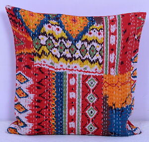 """Indian Handmade Kantha Stitch Cushion Cover Ikat Pattern Pillow Case Ethnic 16/"""""""