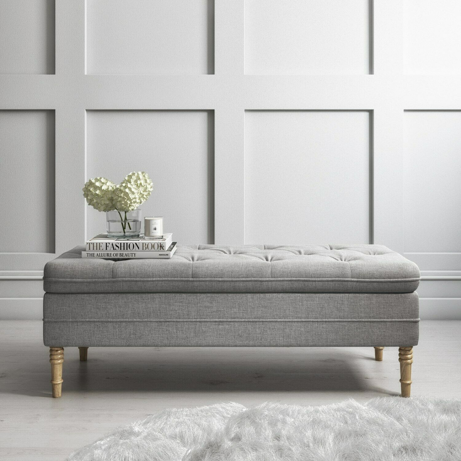 Safina Ottoman Storage Bench in Woven Light Grey Fabric SAF067