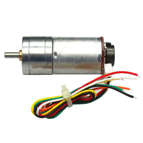 GM25-370 DC6V//12V//24V Hall Encoder Gear Motor 100-600 RPM Metal Gear Reversible