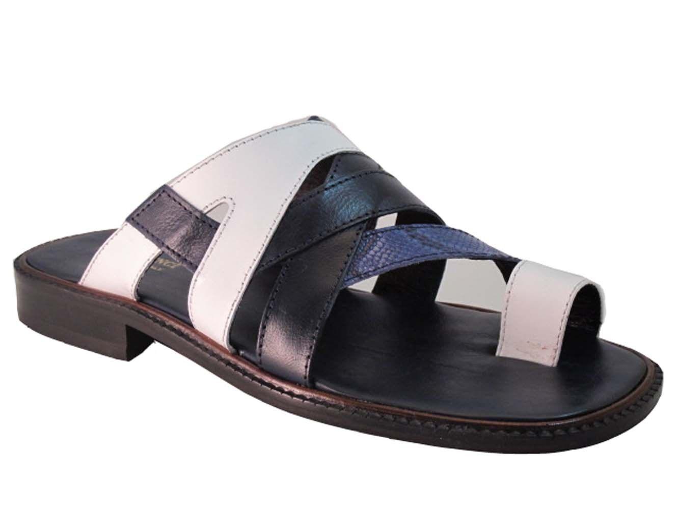 Davinci 3839 Men's Push In Toe Italian leather Sandals, White bluee