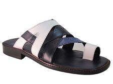 4996e79910f Men s DaVinci 1677 Italian Leather Push-in-toe Ostrich Sandal White ...