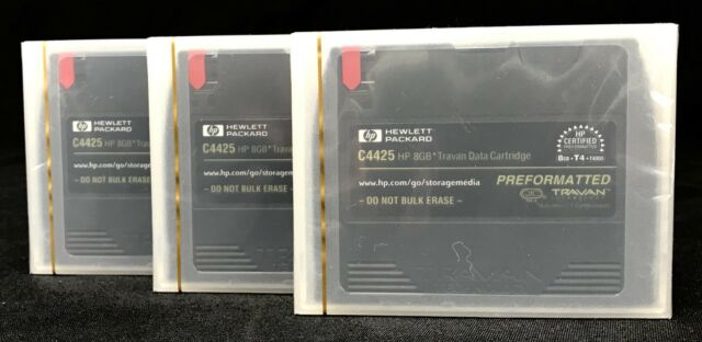 3 BRAND NEW HP C4425 Preformatted Data Cartridges 8GB Travan