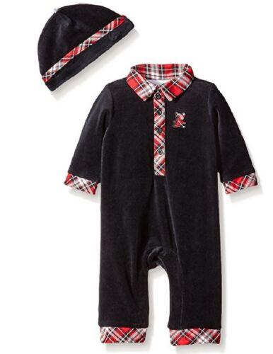 Size 6M Little Me Baby-boys Newborn Plaid Bear Coverall And Hat MSRP $34