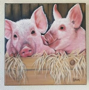 Piglet-Love-Acrylic-Painting-Original-Signed-20-x-20-cm