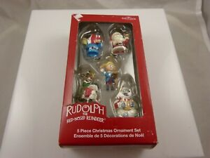 Rudolph-the-red-nosed-reindeer-mini-5-piec-Christmas-ornament-Kurt-S-Adler-xmas