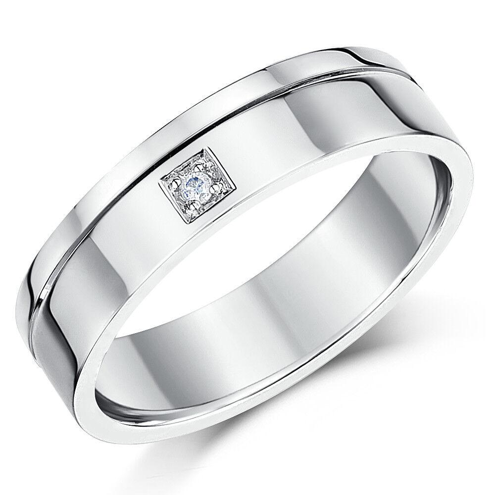18ct Anello gold Bianco Fedina Piatta Diamante Matrimonio 6mm Fascia