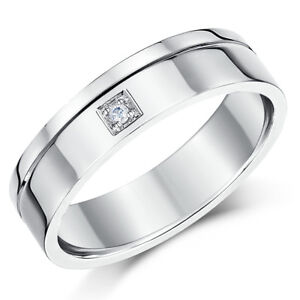 18Ct-Oro-Blanco-Anillo-Plano-Formal-Diamante-Boda-6mm-Banda