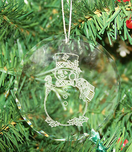 Personalized Crystal Glass Ornament Circle Image Christmas Custom Gift