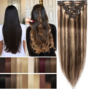 Details about Brunette Balayage Highlight Pure Remy Clip In Human Hair  Extension Full Head A70
