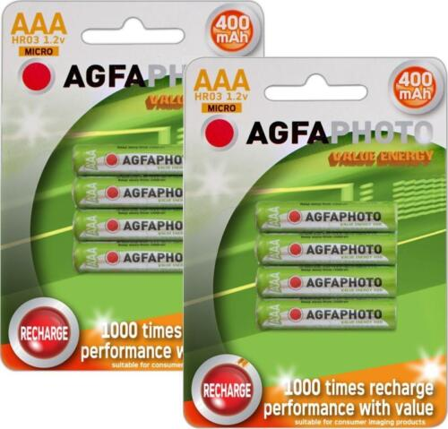 8 x AAA SOLAR GARDEN LIGHT AGFA RECHARGEABLE BATTERIES 1.2v 400mAh