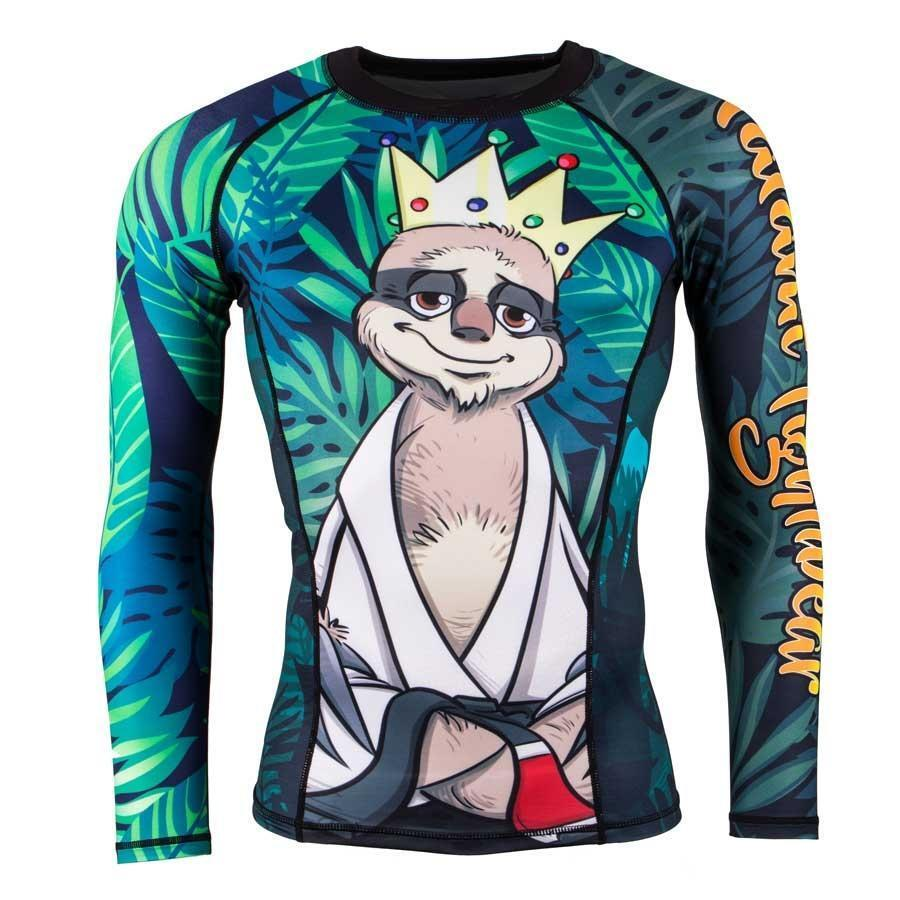 Tatami King Sloth Mens BJJ Rash Guard Brazilian Jiu Jitsu Compression Top MMA