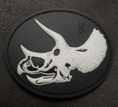 3D PVC GLOW TRICERATOPS SKULL TACTICAL ARMY SWAT VELCRO® BRAND FASTENER PATCH