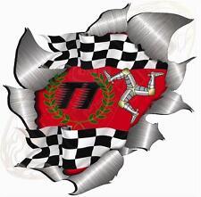 Large Metal Rip Torn Open Isle Of Man TT Sticker JDM Race Car  Motor Bike