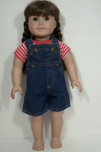 """BLUE Denim Short-Overalls w//RED Shirt Doll Clothes For 18/"""" American Girl Debs"""