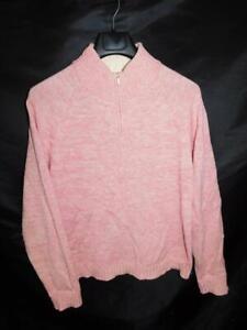 Pendleton-L-Pink-Sweater-Zip-Mock-Neck-Merino-Wool-Cashmere-Knit-Womens-Large