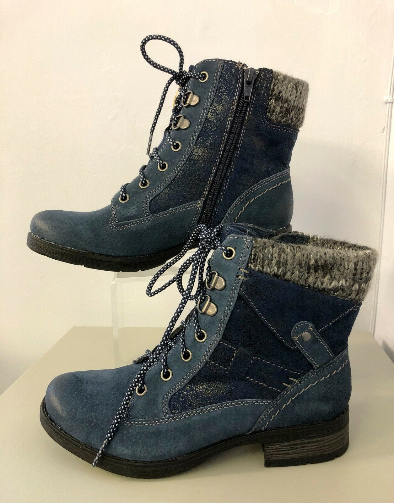 EARTH SPIRIT Sandiego San Diego Ankle Boot NAVY bluee 5 Laces Zip