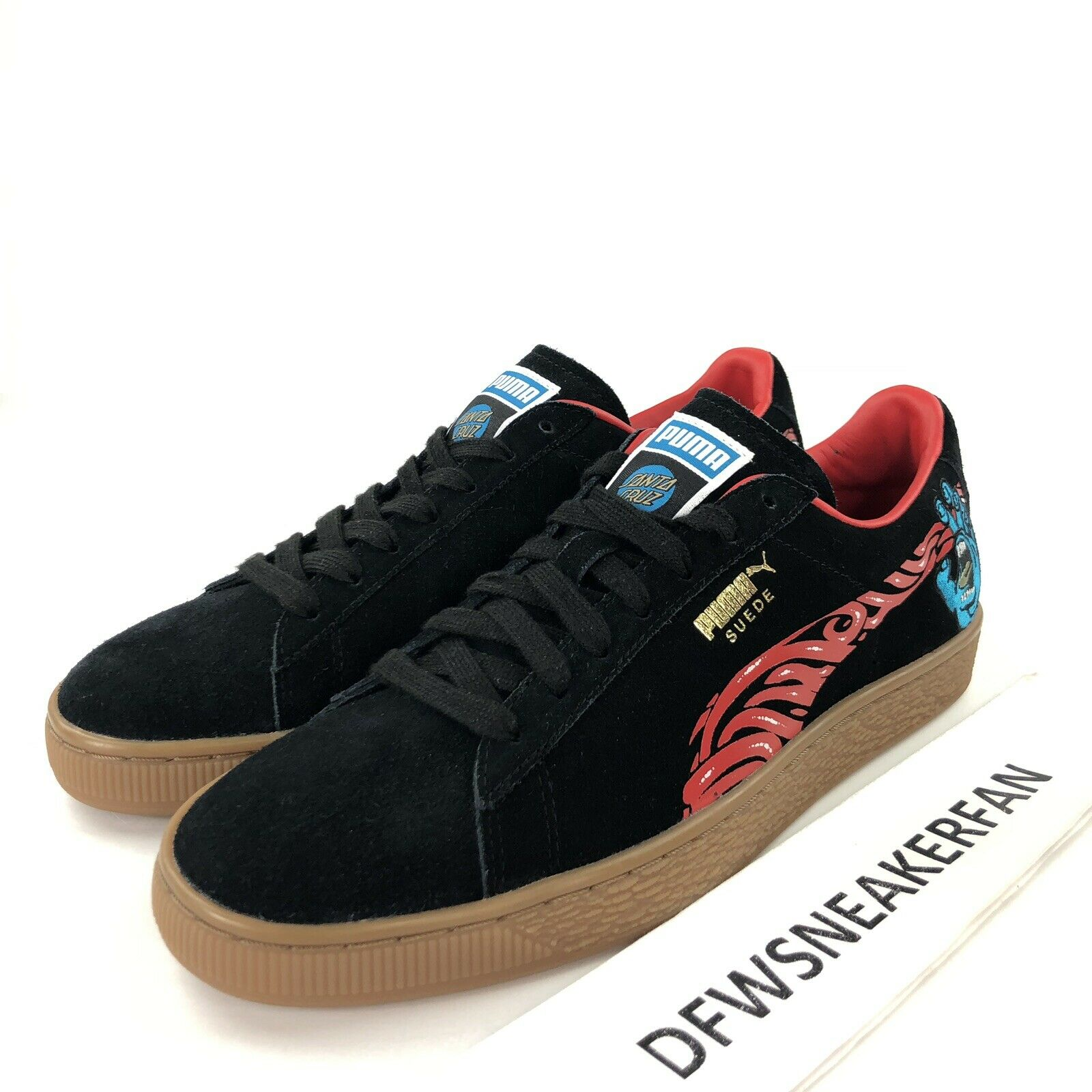 Puma x Santa Cruz Suede Classic Men's 9 Black Gum Roskopp Screaming Hand shoes