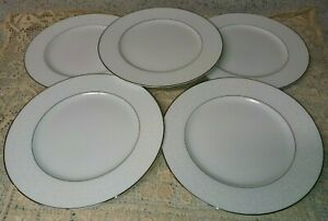 "5 Sango Fine China Fresco 3540 10.5"" Dinner Plates White Floral Rim Platinum EXC"