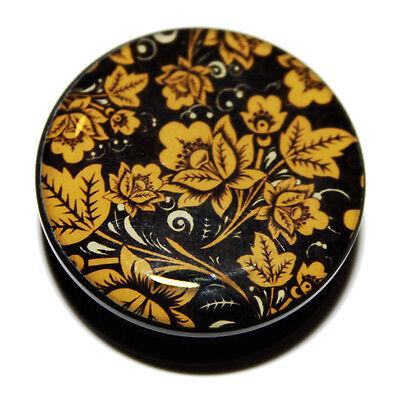 Black & Yellow Flowers Floral PMMA Acrylic Screw-Fit Flesh Ear Plug Tunnel 8-25m