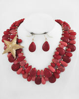 Coastal - Gold Red Teardrops Large Starfish Necklace Earrings Set 9580