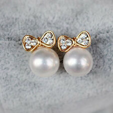 1 Pair Korean Gold Plated Butterfly Bow Pearl Stud Earrings Jewelry Gift