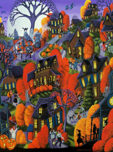 Dollhouse art 1.5x2 giclee print TRICK OR TREAT 18 Halloween cat witch spooky DC