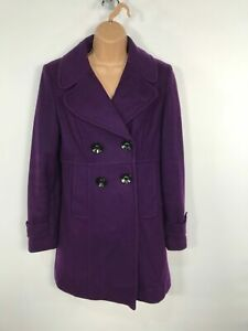 WOMENS-WALLIS-PURPLE-DOUBLE-BREASTED-BUTTON-UP-WINTER-OVERCOAT-JACKET-SIZE-UK-10