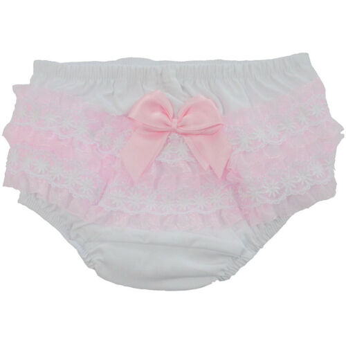 Baby Girls Romany Frilly Knickers Pants Pink Double Satin Bow /& Lace Soft Touch