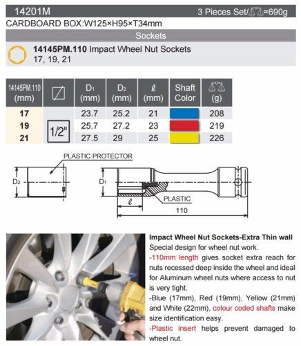 "14201M  MADE JAPAN 17, 19, 21mm 1//2/"" WHEEL NUT SOCKET 3 SIZE SET KOKEN"