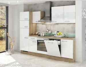 Einbaukuche Blanca 2 Kuchenzeile Weiss Hochglanz 290cm Kuchenblock