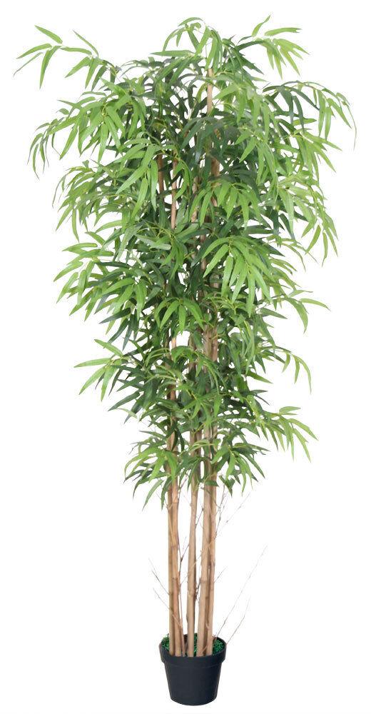 Bambus Kunstpflanze Kunstbaum Künstliche Pflanze mit Echtholz 180cm Decovego
