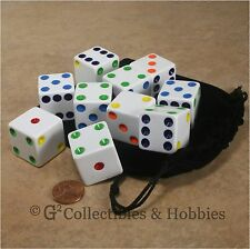 NEW 10 Jumbo 25mm White w/ Multi-Color Pips Dice & Bag Set RPG Board Game D6