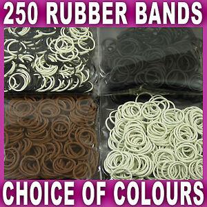 250 MINI HAIR ELASTICS RUBBER BANDS Braids Braiding Plaits Black Brown White NEW