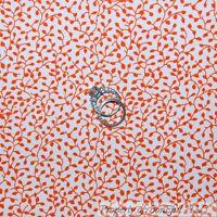 BonEful FABRIC FQ Cotton Quilt White Orange Leaf Floral Calico Small Tiny Little