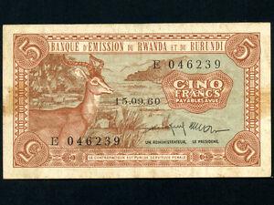 Rwanda-Burundi-P-1-5-Francs-1960-Impala-RARE-VF