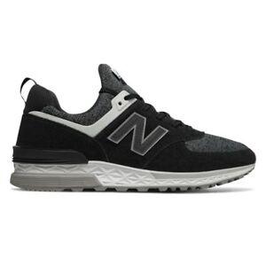 pretty nice 2c6ca 413a8 Details about New Balance 574 Black / MS574CC / Men's NB 574 Suede Mesh  White Fresh Foam Grey