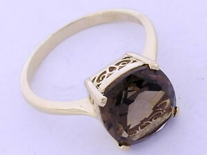 R224-Genuine-9ct-Solid-Yellow-Gold-Smokey-Quartz-Cushion-Solitaire-Ring-size-N