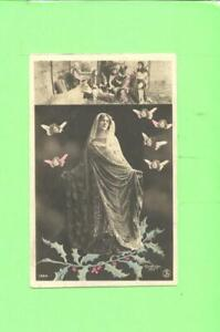 F-POSTCARD-MADONA-VIRGIN-WITH-ANGEL-HOLY-RELIGIOUS-VINTAGE-POST-CARD