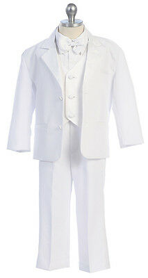 Boys Formal Dress Black White Tuxedo Infant Toddler Kids Size 2T-4T Boys 5-20