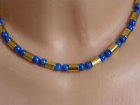 Halskette Collier Lapislazuli Kugeln Mit Gold-zylinder 44 Cm E151206