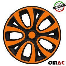 Hubcaps 15 Inch Wheel Rim Cover Matt Black With Orange Insert 4pcs Set Fits Camry