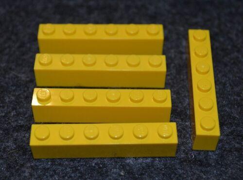 5 1x6 YELLOW Standard Bricks  ~ Lego  ~ NEW ~ Castle