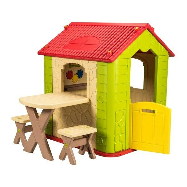 Plastic Outdoor Indoor Playhouse with Table and Chairs Garden Fun