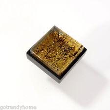 Metallic Amber Crystal Glass Cabinet Black Metal Knob Drawer Pull Square Modern