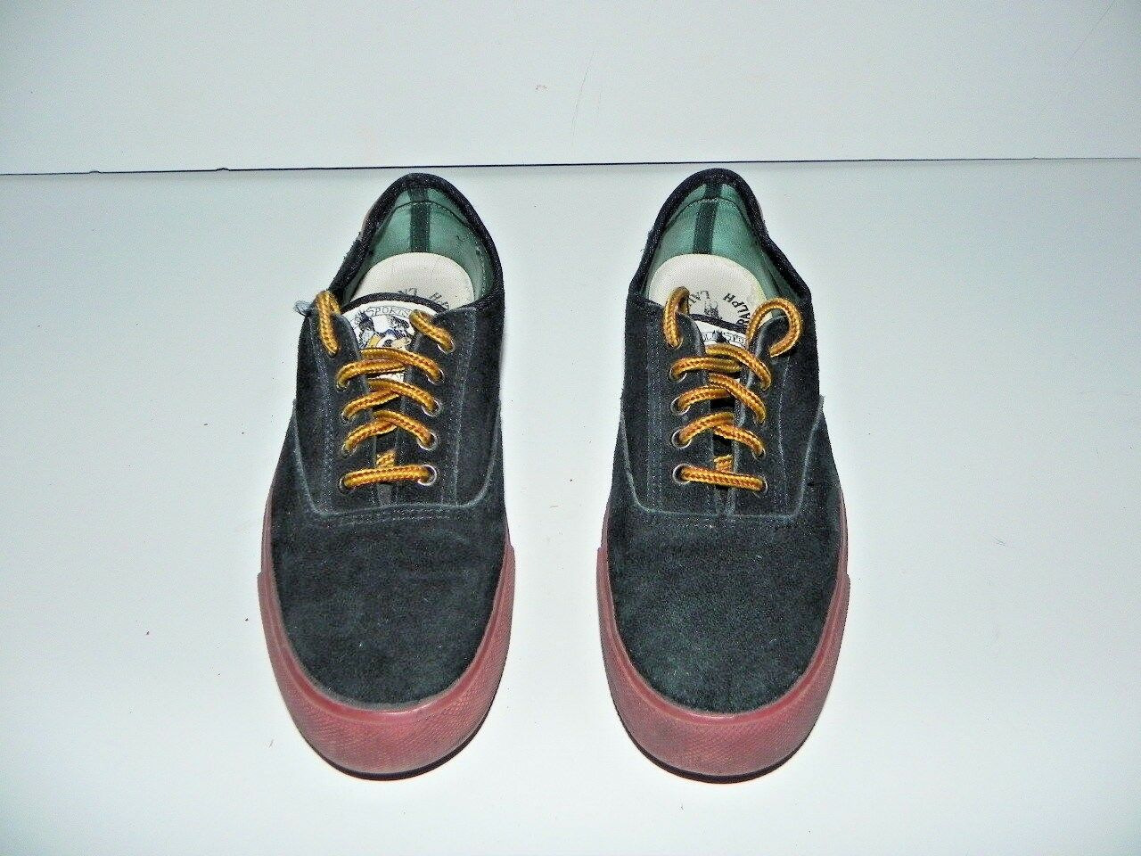 POLO vintage RALPH LAUREN Suede skid resistant sole 8.5 D vintage POLO made in Korea Rare 6bc3f4