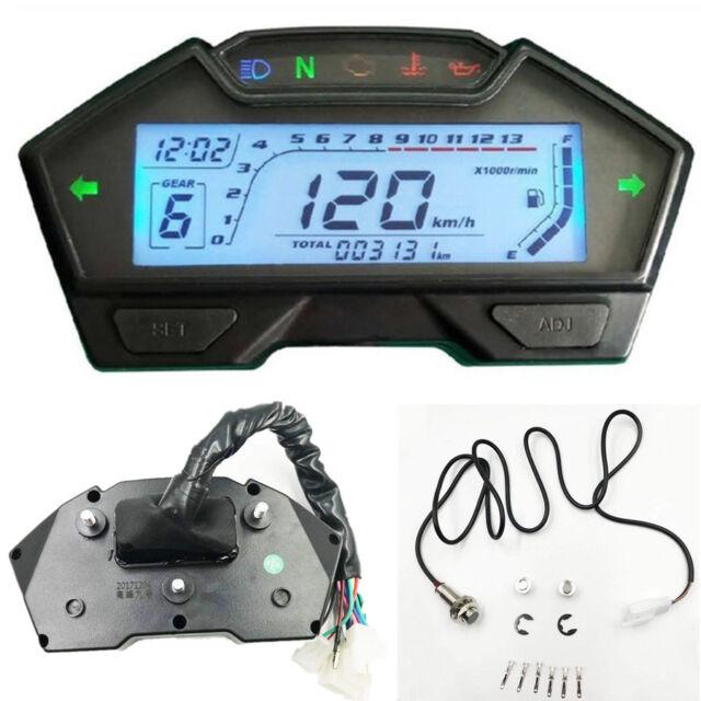 Universal Motorcycle Speedometer Odo Tacho Gauge RPM KMH MPH Fuel Gear  Indicator